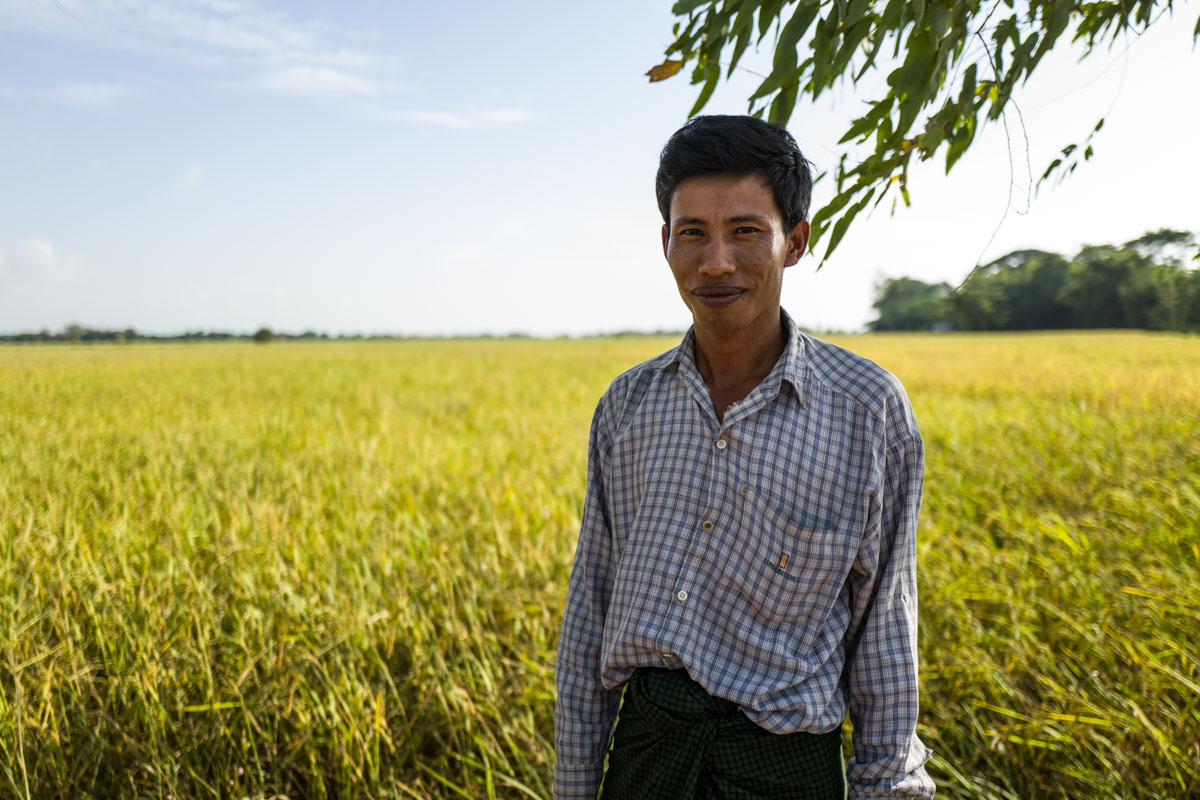 Burmese farmer, shot wide open in sun