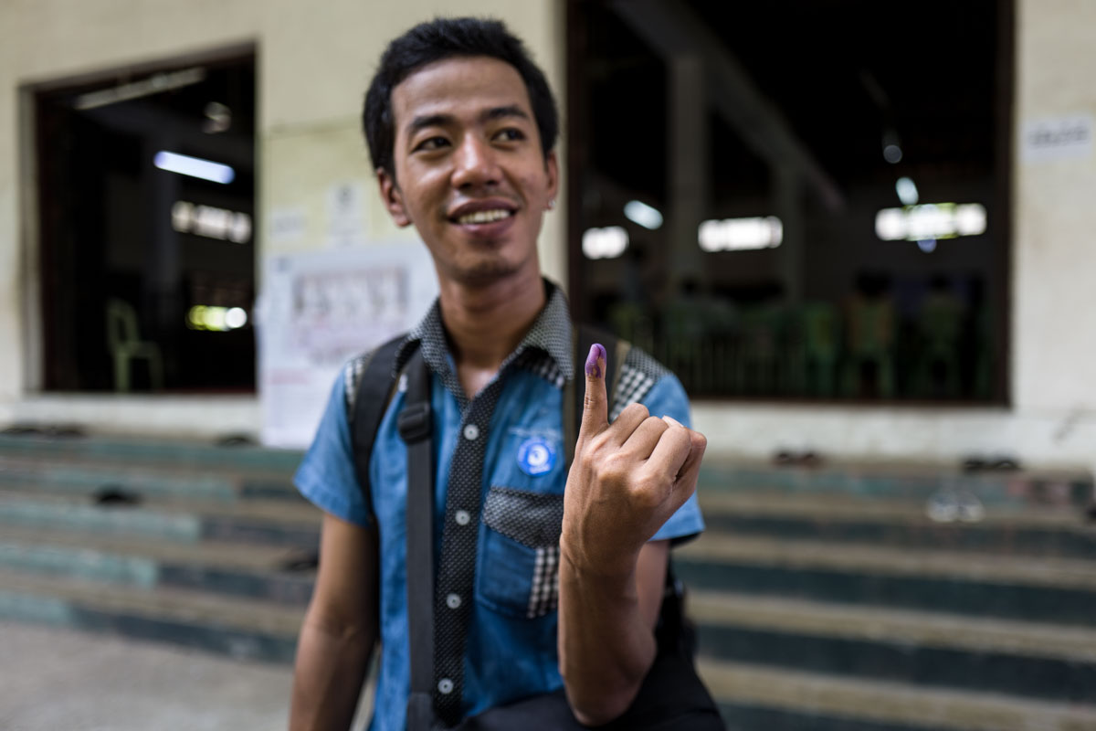 Burmese citizen immediately post-voting in November 2015 elections