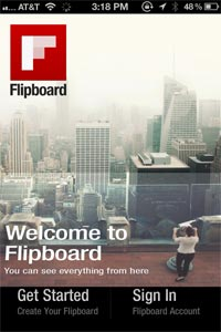 Flipboard for iPhone: welcome screen