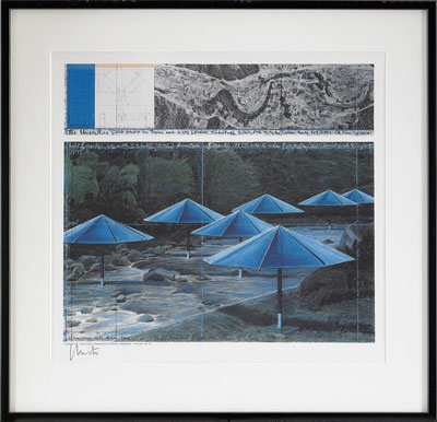 Framed sketch for the Japan side of The Umbrellas