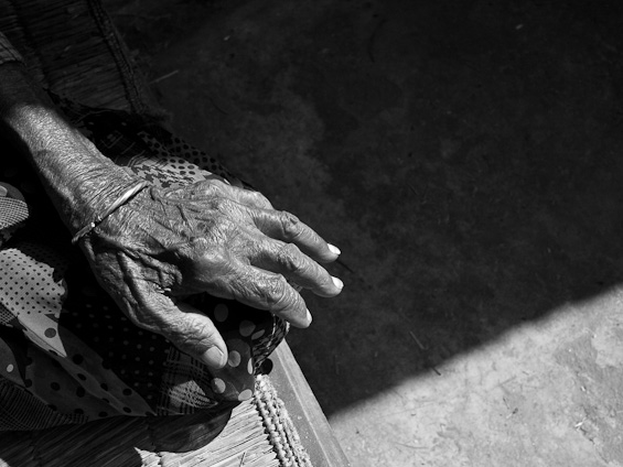 A weathered Nepalese woman's hand.