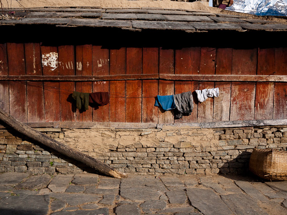 Clothes drying in a Nepalese mountain village.