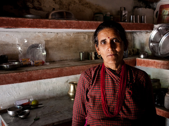 A Nepalese woman in her kitchen.