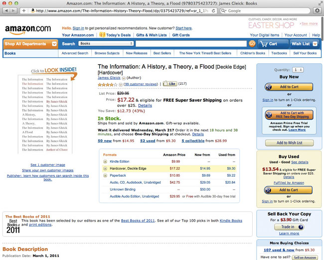Amazon's individual book result page