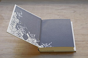 Goodbye Madame Butterfly interior — kimono pattern on the sparkly end pages which cost a crazy amount of money to print