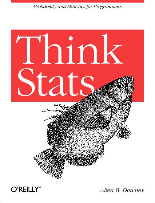 O'Reilly book cover — Think Stats — dull fish swimming up perhaps to commit suicide?