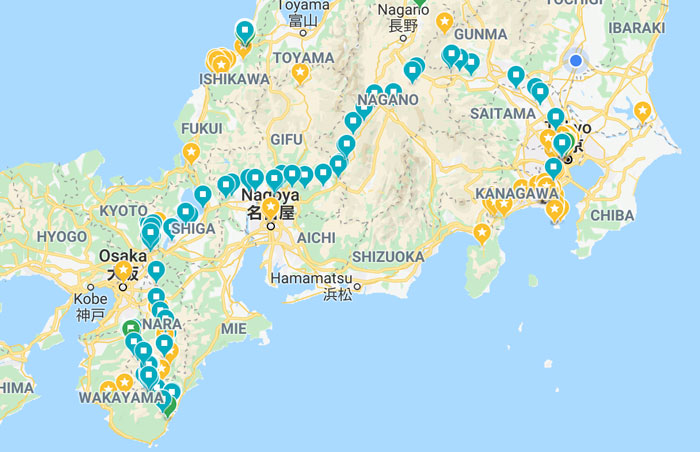 My route across Japan